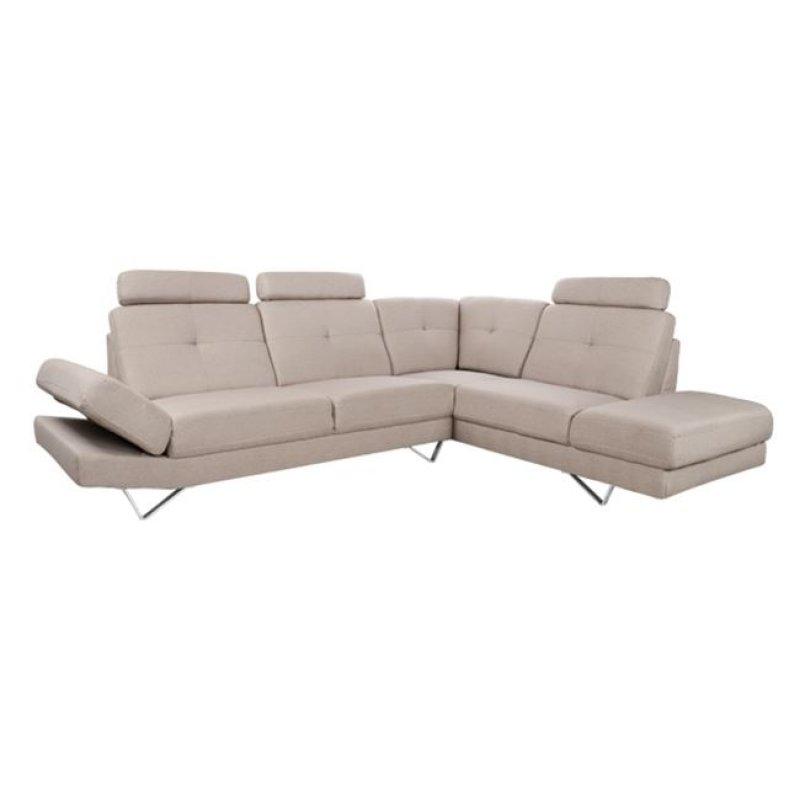 """Καναπές γωνία δεξιά """"CALYPSO"""" από ύφασμα σε χρώμα μπεζ 280x210x100"""