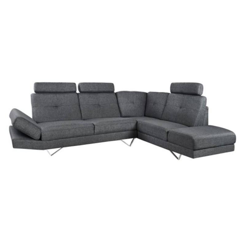 """Καναπές γωνία δεξιά """"CALYPSO"""" από ύφασμα σε χρώμα γκρι 280x210x100"""