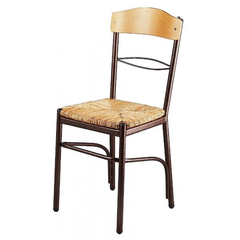 Καρέκλα με φυσική ψάθα σε χρώμα καφέ