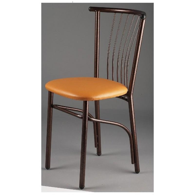 Καρέκλα μεταλλική με πάτο δερματίνης σε χρώμα καφέ