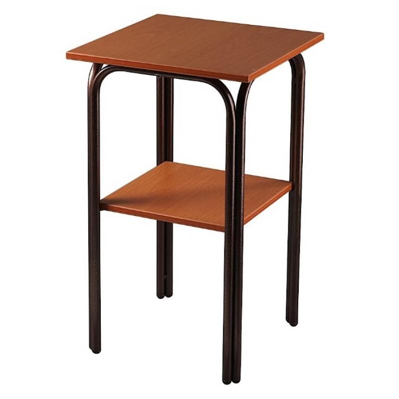 Τραπέζι βοηθητικό δίπατο μεταλλικό σε χρώμα καφέ 50x60