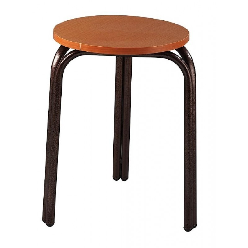 Σκαμπό χαμηλό μεταλλικό με πάτο ξύλου σε χρώμα καφέ