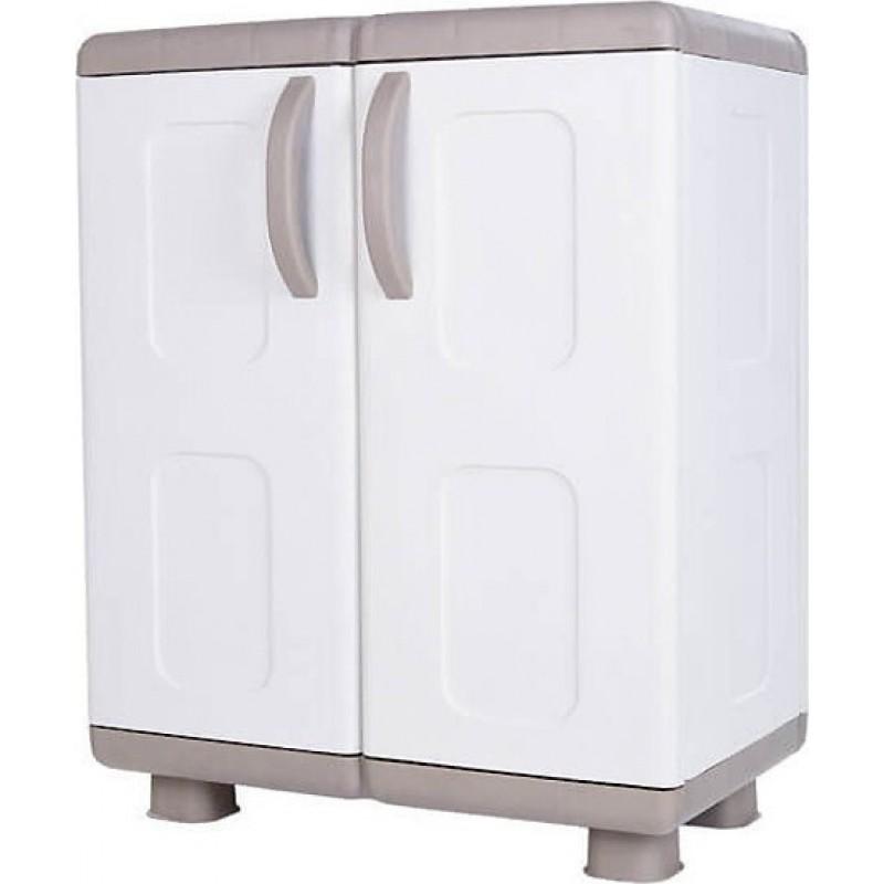 """Ντουλάπα """"ΗΒΗ"""" δίφυλλη πλαστική σε μπεζ-λευκό χρώμα 73x44x96"""