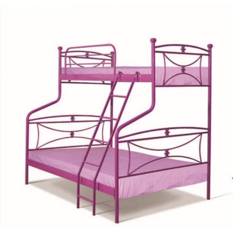 Κουκέτα κρεβάτι μεταλλικό σε χρώμα ροζ 92x192 και 140x190