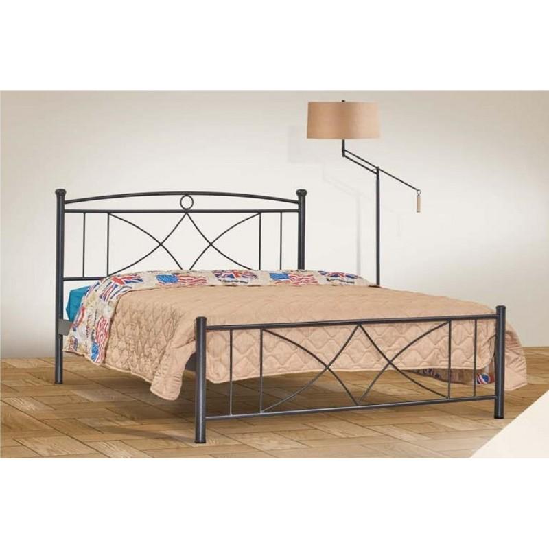 Κρεβάτι μεταλλικό διπλό σε χρώμα μαύρο 142x192