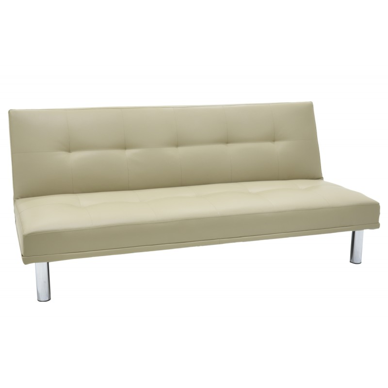 """Καναπές-κρεβάτι """"SHINE"""" τριθέσιος από τεχνόδερμα σε χρώμα cream 178x91x78"""