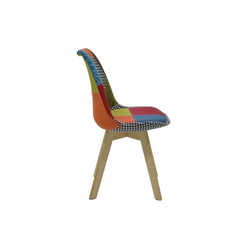 """Καρέκλα """"GASTON"""" υφασμάτινη σε χρώμα patchwork 49x52x83"""
