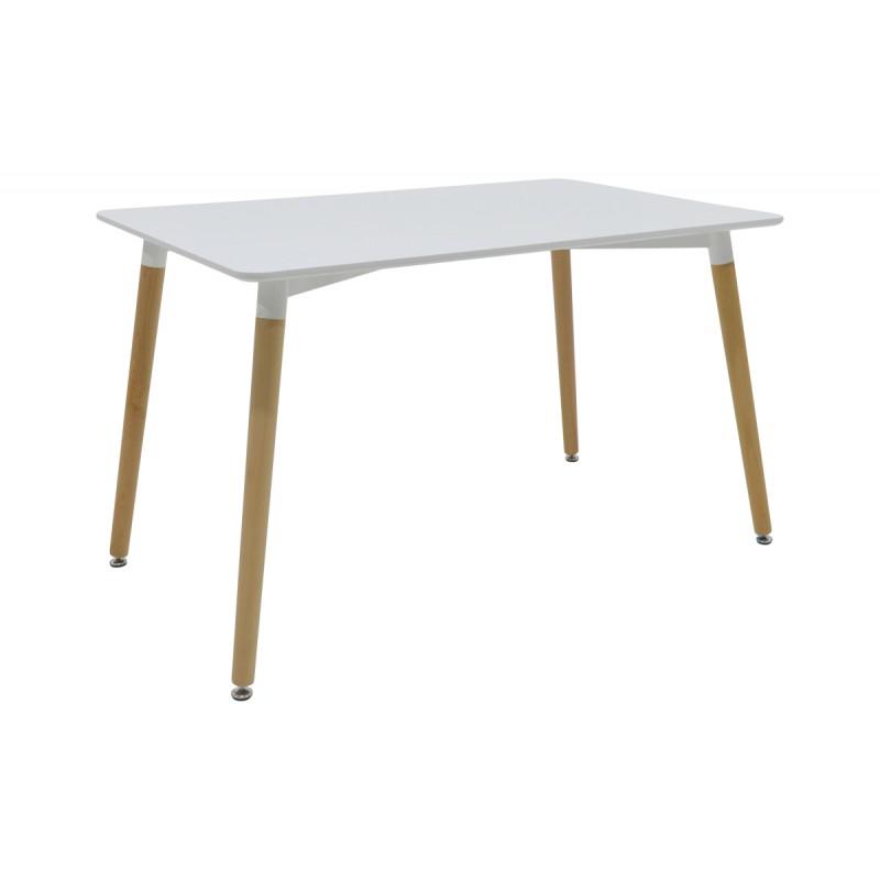 """Τραπέζι """"NATALI"""" ορθογώνιο σε χρώμα λευκό 120x80x74"""