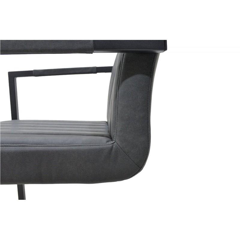 """Πολυθρόνα """"MORGAN"""" μεταλλική με τεχνόδερμα σε χρώμα antique γκρι 63x56.5x82"""