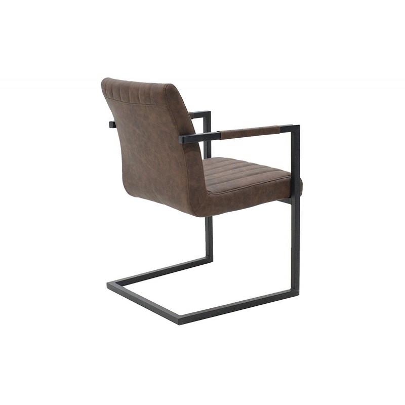 """Πολυθρόνα """"MORGAN"""" μεταλλική με τεχνόδερμα σε χρώμα antique καφέ 63x56.5x82"""