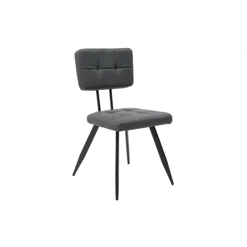 """Καρέκλα """"LENIA"""" μεταλλική-τεχνόδερμα σε χρώμα αντικέ γκρι 53x49x87"""