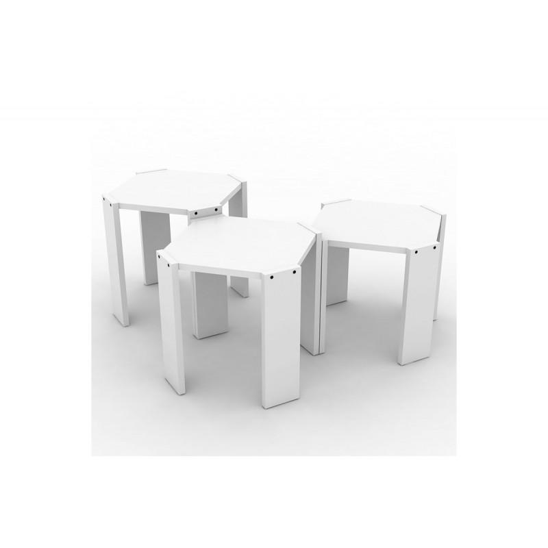"""Τραπεζάκια ζιγκόν """"HANSEL"""" σε χρώμα λευκό 44,5x44,5x41"""