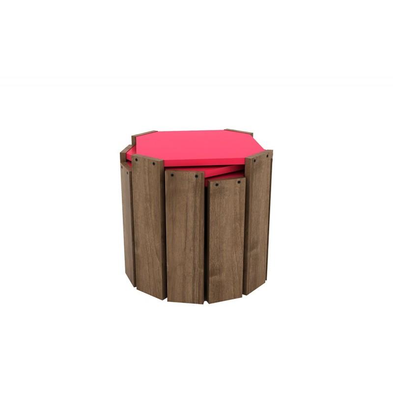 """Τραπεζάκια ζιγκόν """"HANSEL"""" σε χρώμα καρυδί-ροζ 44,5x44,5x41"""