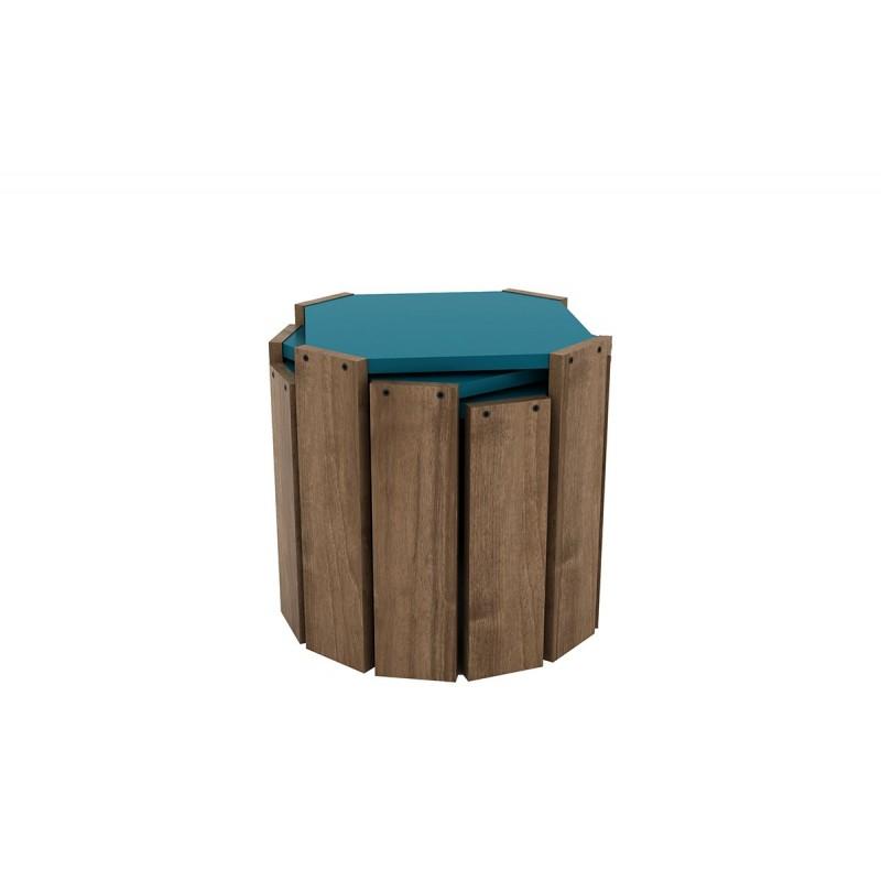 """Τραπεζάκια ζιγκόν """"HANSEL"""" σε χρώμα καρυδί-πετρολ 44,5x44,5x41"""