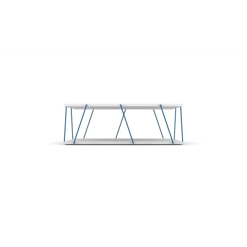 """Τραπεζάκι σαλονιού """"TARS"""" σε χρώμα λευκό-μπλε 90x60x30,5"""