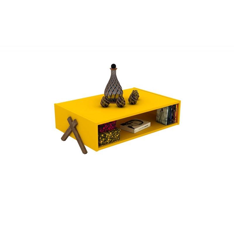 """Τραπεζάκι σαλονιού """"KIPP"""" σε χρώμα κίτρινο-καρυδί 93,5x60,5x28,5"""