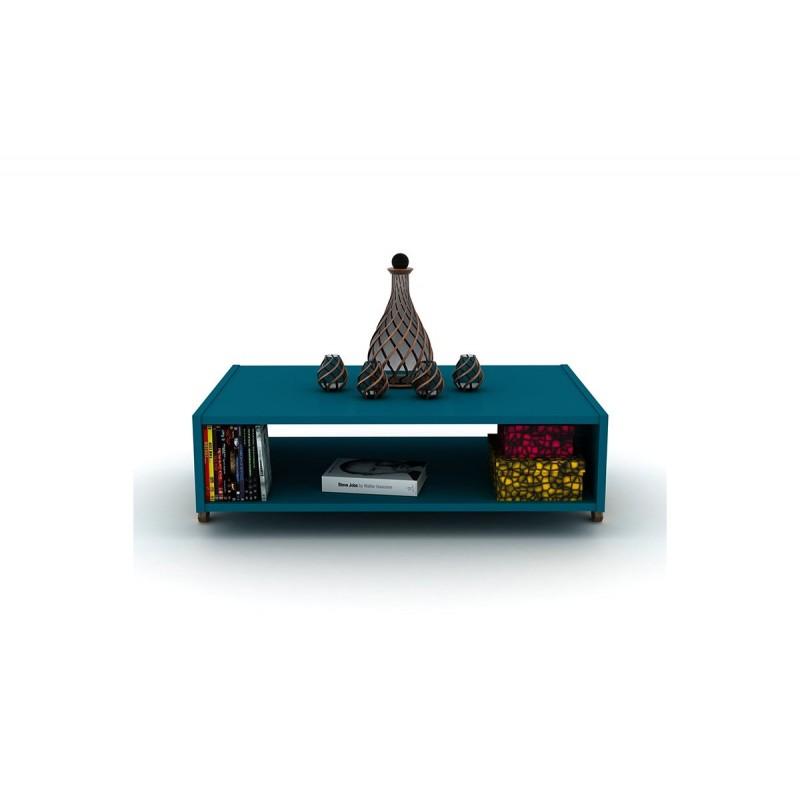"""Τραπεζάκι σαλονιού """"KIPP"""" σε χρώμα πετρολ-καρυδί 93,5x60,5x28,5"""