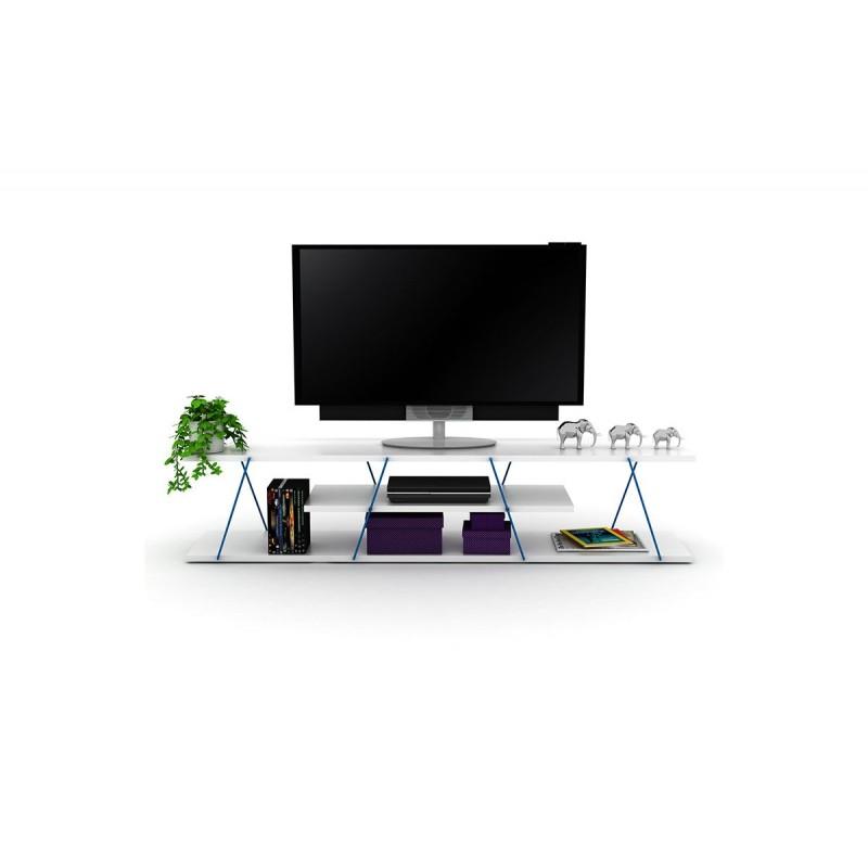 """Έπιπλο τηλεόρασης """"TARS"""" σε χρώμα λευκό 143x32x31"""