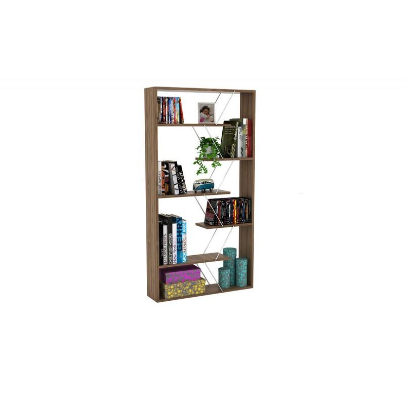"""Βιβλιοθήκη """"TARS"""" σε χρώμα καρυδί με λεπτομέρειες χρωμίου 84x24x157"""