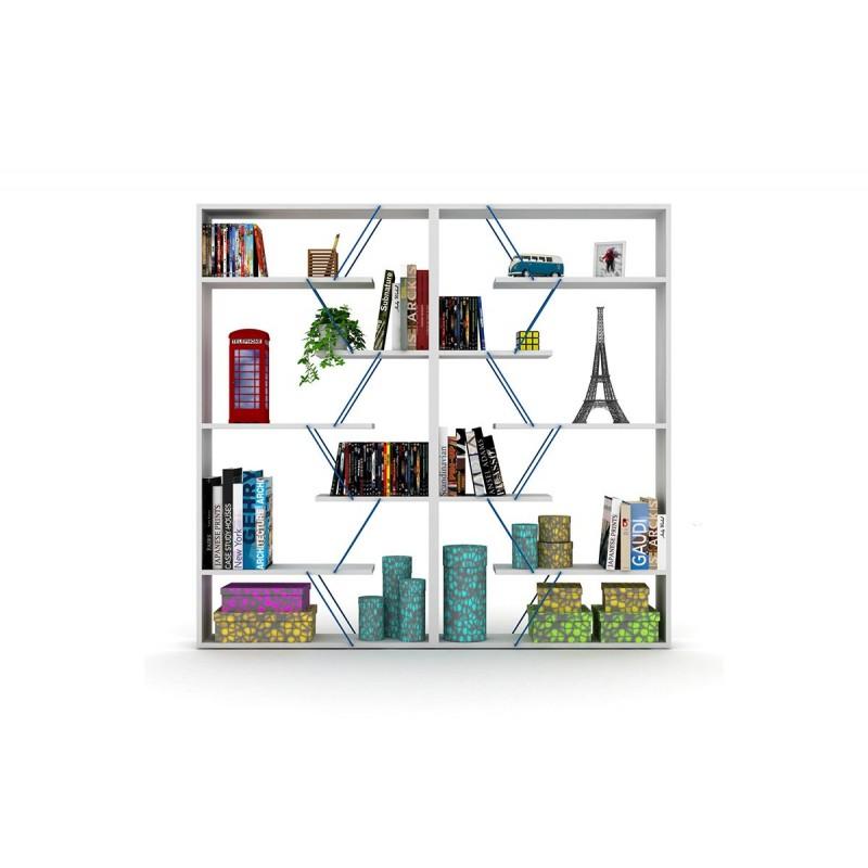 """Βιβλιοθήκη """"TARS"""" σε χρώμα λευκό με μπλε λεπτομέρειες 84x24x157"""