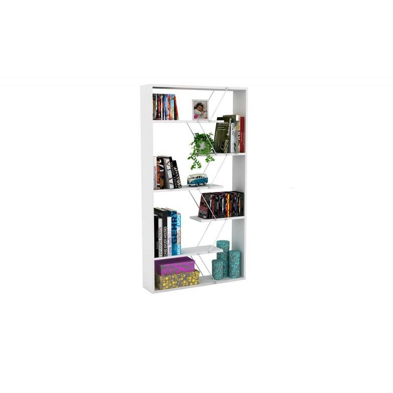 """Βιβλιοθήκη """"TARS"""" σε χρώμα λευκό με λεπτομέρειες χρωμίου 84x24x157"""