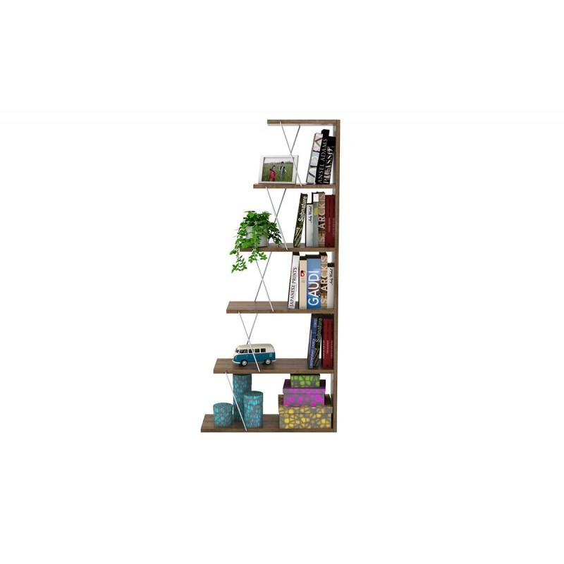 """Βιβλιοθήκη """"MINI TARS"""" σε χρώμα καρυδί 65x22x146"""