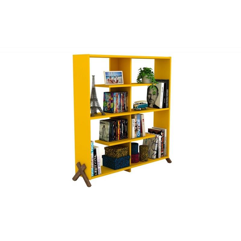 """Βιβλιοθήκη """"KIPP"""" σε χρώμα κίτρινο με καρυδί λεπτομέρειες 113x28x115"""