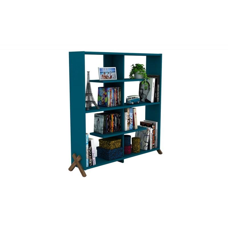 """Βιβλιοθήκη """"KIPP"""" σε χρώμα πετρόλ με καρυδί λεπτομέρειες 113x28x115"""