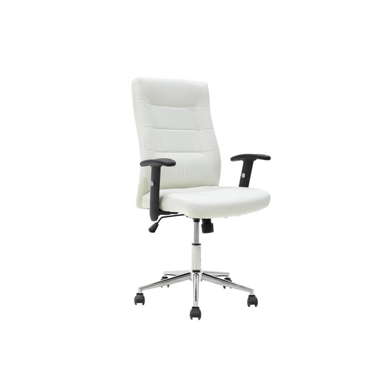"""Πολυθρόνα εργασίας """"ELIOT"""" από τεχνόδερμα σε χρώμα λευκό 64x107x107"""