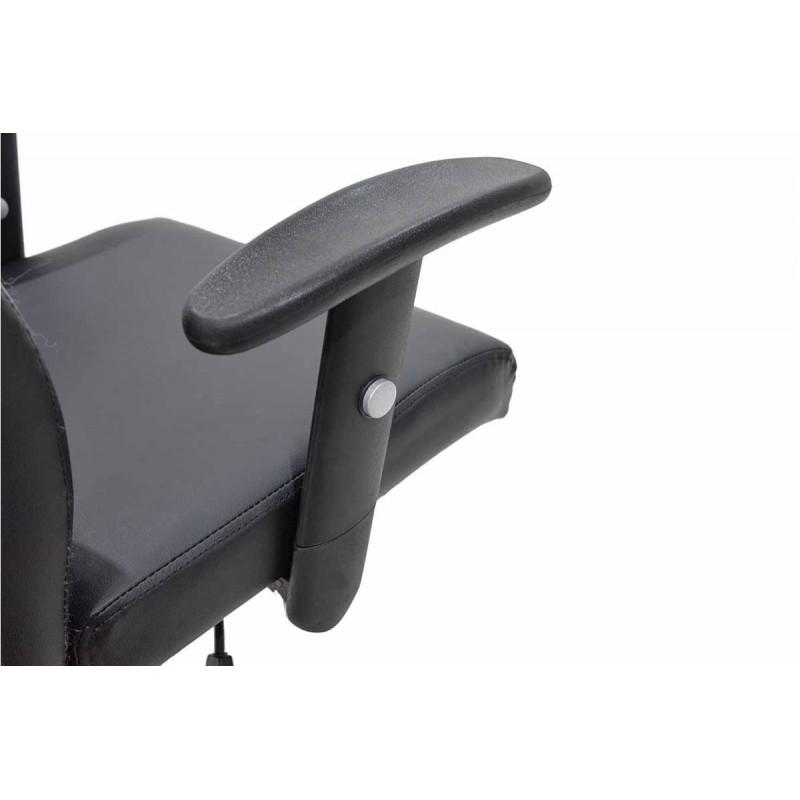"""Πολυθρόνα εργασίας """"ELIOT"""" από τεχνόδερμα σε χρώμα μαύρο 64x107x107"""
