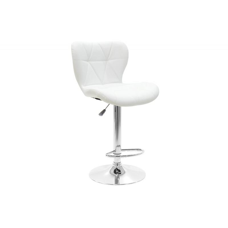 """Σκαμπώ μπαρ """"COZI"""" μεταλλικό με PVC σε χρώμα λευκό 47x48x90/111"""