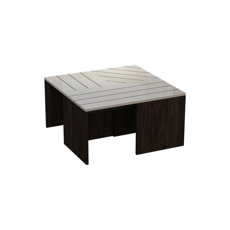 """Τραπεζάκι σαλονιού """"RAMANU"""" γυάλινο σε χρώμα σκούρο καφέ-λευκό 80x80x42,50"""