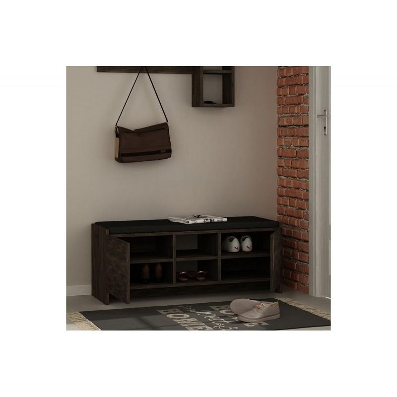 """Έπιπλο εισόδου σκαμπώ-παπουτσοθήκη """"ZULLA"""" σε χρώμα σκούρο καφέ 110x37x43"""