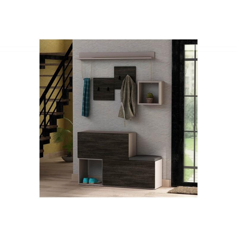 """Έπιπλο εισόδου-παπουτσοθήκη """"HOLDON"""" σε χρώμα μόκα-σκούρο καφέ 120x32x78"""