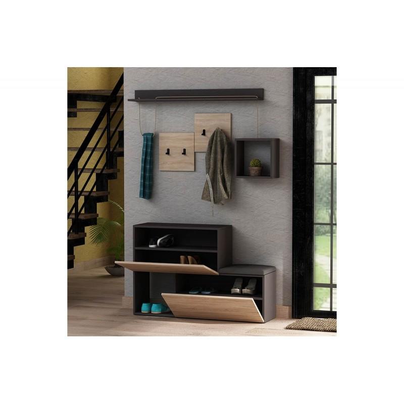 """Έπιπλο εισόδου-παπουτσοθήκη """"HOLDON"""" σε χρώμα ανθρακί-δρυς 120x32x78"""