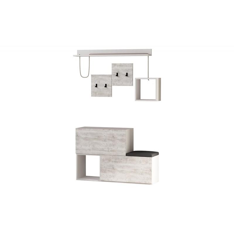 """Έπιπλο εισόδου-παπουτσοθήκη """"HOLDON"""" σε χρώμα λευκό-λευκό αντικέ 120x32x78"""