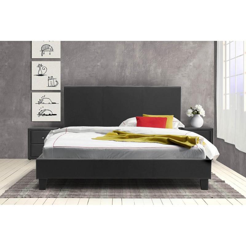 """Κρεβάτι """"NEVIL"""" διπλό από τεχνόδερμα σε χρώμα μαύρο ματ 212x156x87"""