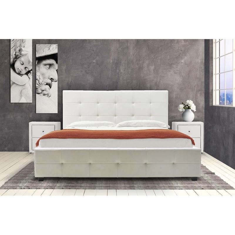 """Κρεβάτι """"ROI"""" διπλό από τεχνόδερμα σε χρώμα λευκό ματ με αποθηκευτικό χώρο 218x172x109"""
