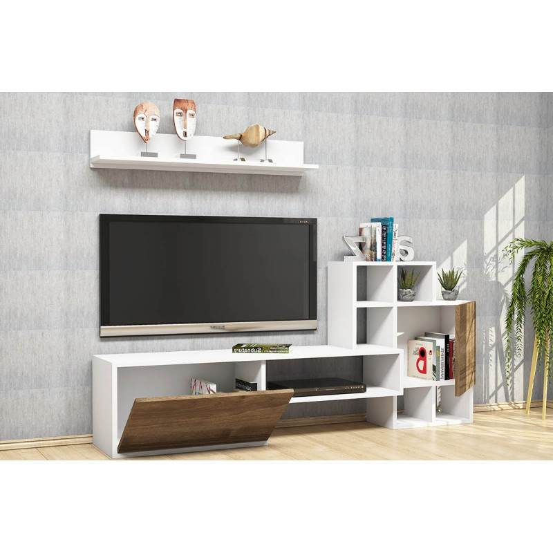 """Έπιπλο τηλεόρασης """"RINALDO"""" σε χρώμα λευκό-καρυδί 160x30x78"""