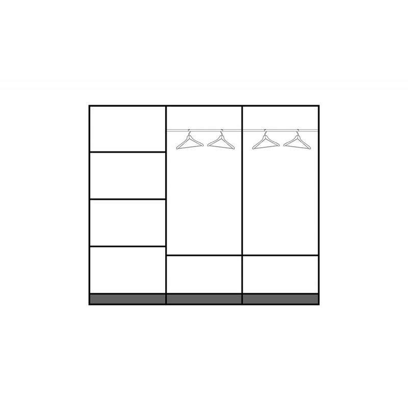 """Ντουλάπα """"ANTIQUE 2"""" τρίφυλλη συρόμενη σε χρώμα φυσικό 220x58x184"""