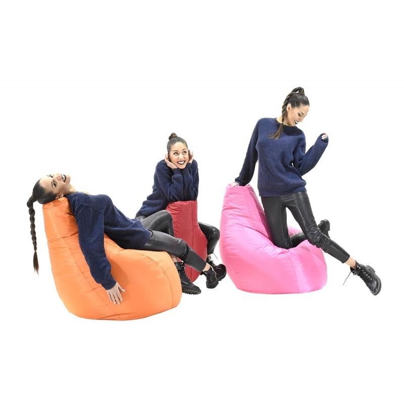 """Πουφ πολυθρόνα """"ECO"""" υφασμάτινο σε χρώμα ροζ 70x70x90"""