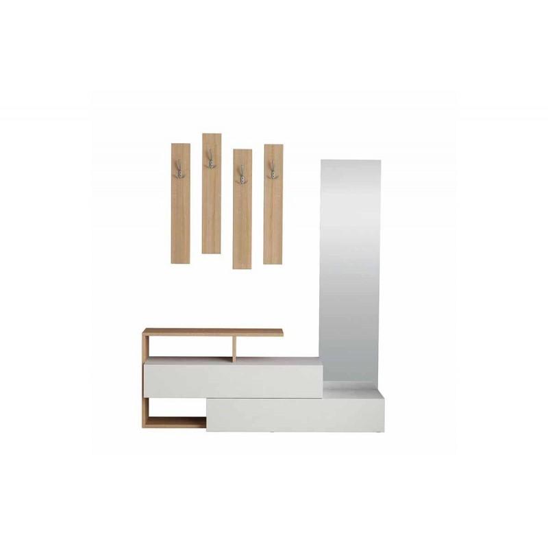 """Έπιπλο εισόδου-παπουτσοθήκη """"RAMDA"""" σε χρώμα λευκό/σονόμα δρυς 137x35x154"""