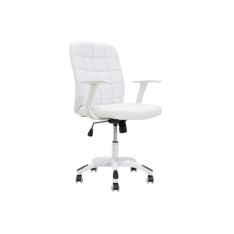 """Πολυθρόνα εργασίας """"ARIEL"""" από τεχνόδερμα σε χρώμα λευκό 60x58x96.5/106.5"""