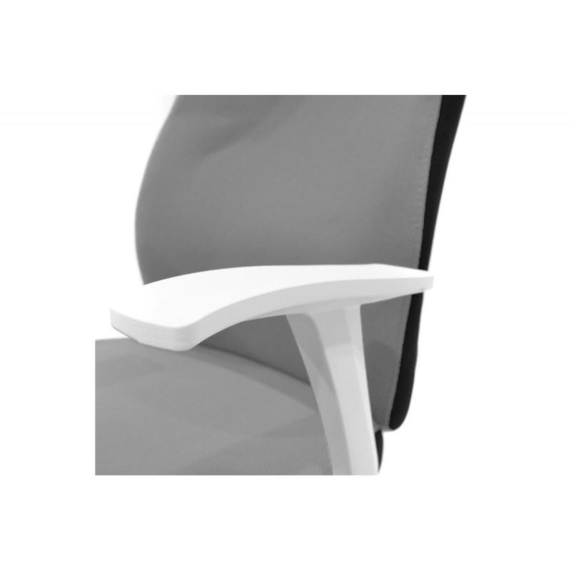 """Πολυθρόνα εργασίας """"MEMORY"""" με ύφασμα mesh σε χρώμα γκρι-λευκό 60x61x95/105"""