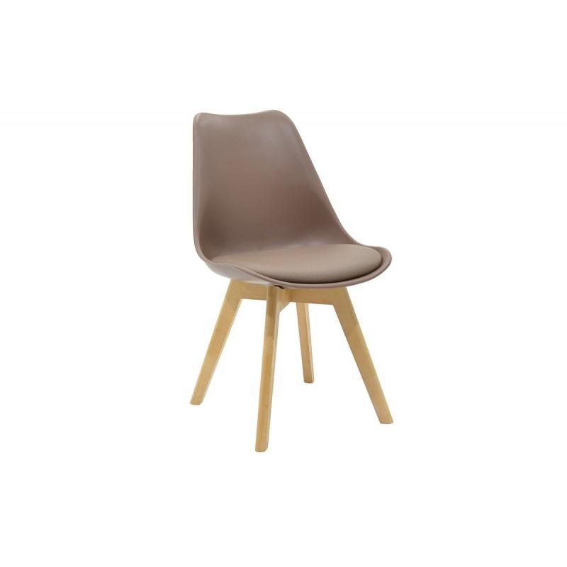"""Καρέκλα """"GASTON"""" πολυπροπυλενίου με pu σε χρώμα μόκα 48x56x84"""