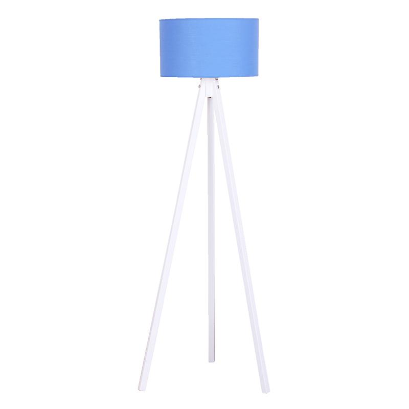 """Φωτιστικό δαπέδου """"BIBI"""" ξύλινο με καπέλο σε μπλε χρώμα 40x40x145"""