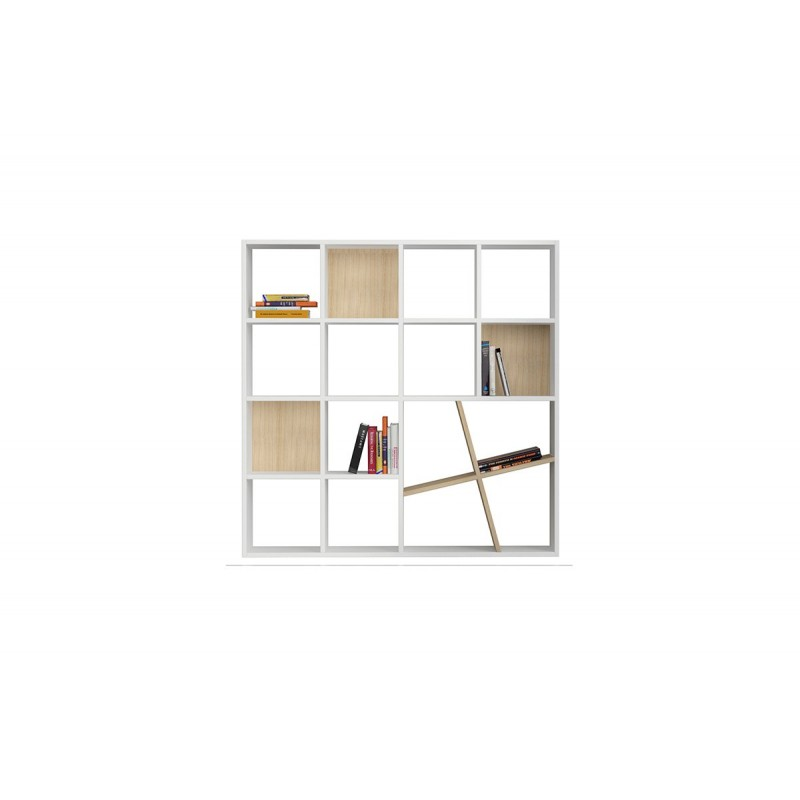 """Βιβλιοθήκη """"HONEY"""" σε χρώμα λευκό - δρυς 125x24x125"""