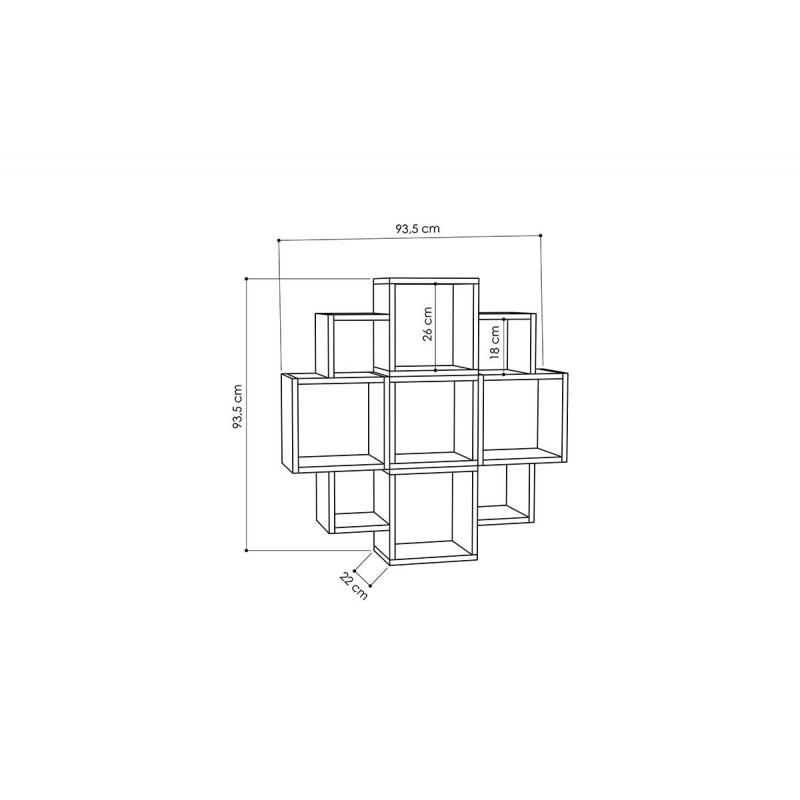 """Ραφιέρα τοίχου """"FIORE"""" σε χρώμα λευκό 93,5x22x93,5"""
