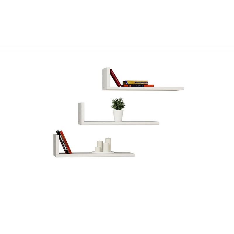 """Ραφιέρα τοίχου """"L-MODEL"""" σε χρώμα λευκό 50x20x14"""
