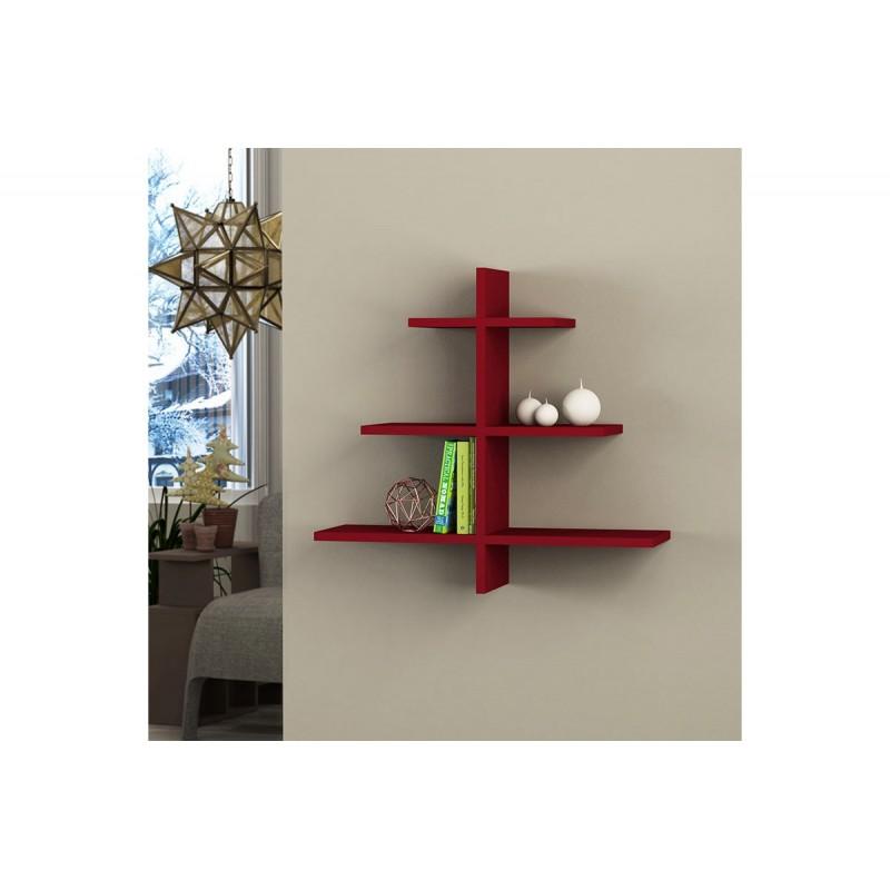 """Ραφιέρα τοίχου """"AGAC"""" σε χρώμα σκούρο κόκκινο 65,5x22x70"""